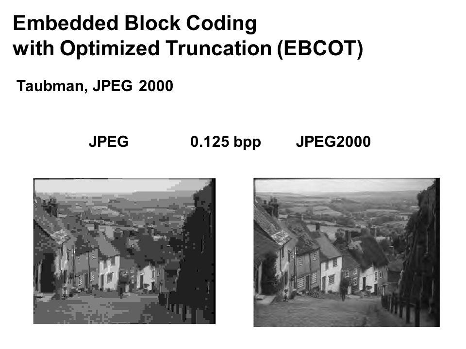 Embedded Block Coding with Optimized Truncation (EBCOT) Taubman, JPEG 2000 JPEG 0.125 bppJPEG2000