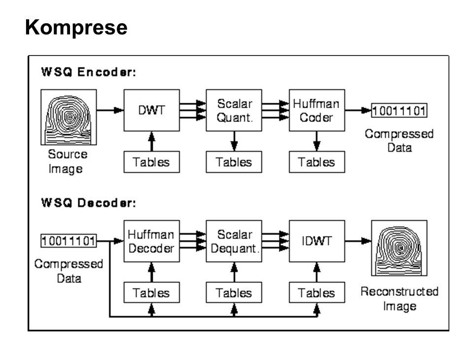 Komprese otisků prstů FBI otisky prstů, 768 x 768 pixels, 589,824 bytes 29 milionů karet (1995) 30,000-50,000 nových karet denně, řády TB