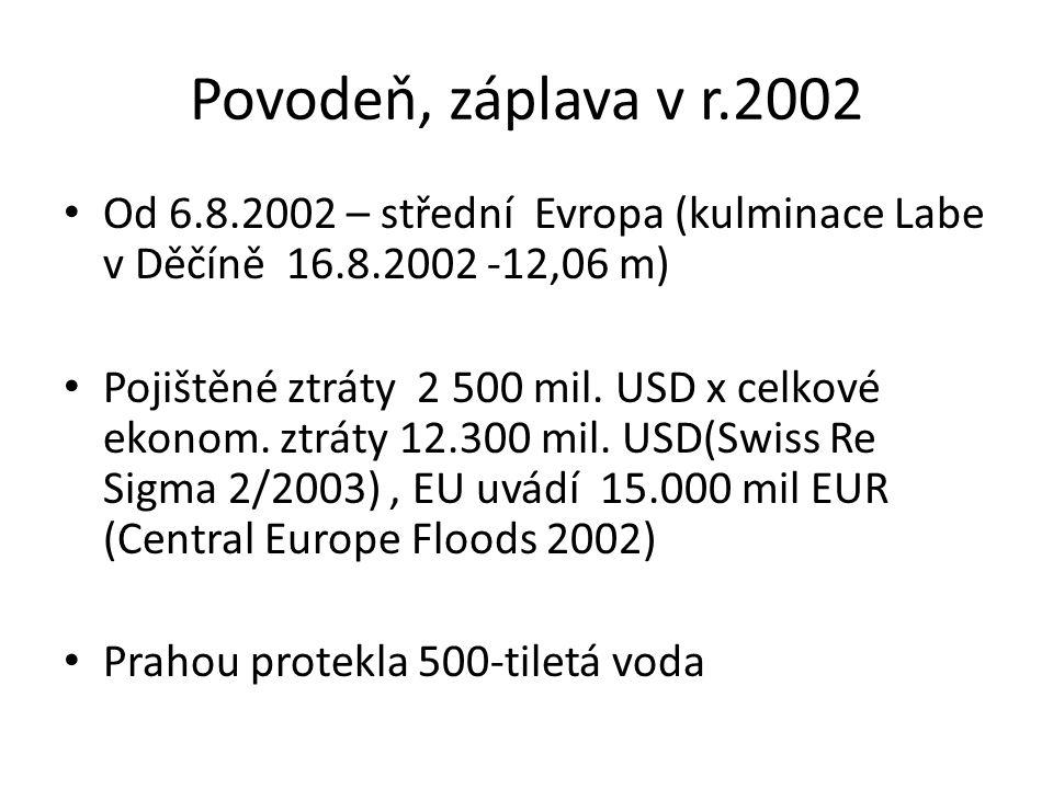 Povodeň, záplava v r.2002 Od 6.8.2002 – střední Evropa (kulminace Labe v Děčíně 16.8.2002 -12,06 m) Pojištěné ztráty 2 500 mil. USD x celkové ekonom.
