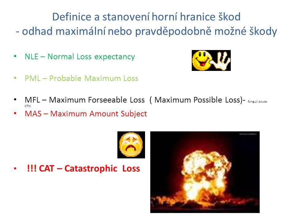Definice a stanovení horní hranice škod - odhad maximální nebo pravděpodobně možné škody NLE – Normal Loss expectancy PML – Probable Maximum Loss MFL