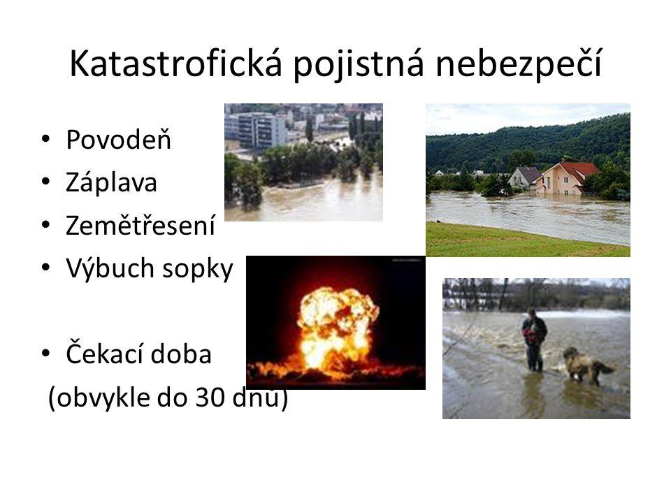 Katastrofická pojistná nebezpečí Povodeň Záplava Zemětřesení Výbuch sopky Čekací doba (obvykle do 30 dnů)