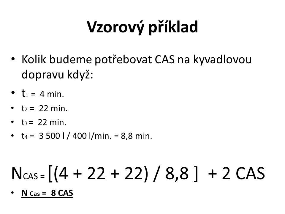 Vzorový příklad Kolik budeme potřebovat CAS na kyvadlovou dopravu když: t 1 = 4 min. t 2 = 22 min. t 3 = 22 min. t 4 = 3 500 l / 400 l/min. = 8,8 min.