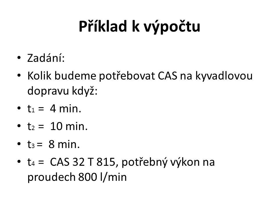 Příklad k výpočtu Zadání: Kolik budeme potřebovat CAS na kyvadlovou dopravu když: t 1 = 4 min. t 2 = 10 min. t 3 = 8 min. t 4 = CAS 32 T 815, potřebný