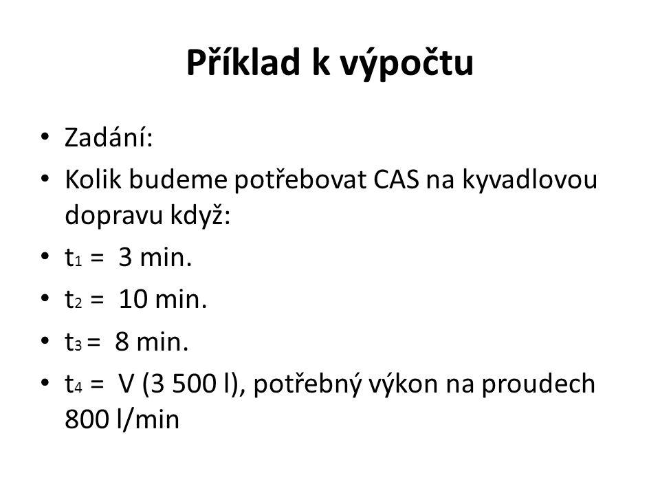 Příklad k výpočtu Zadání: Kolik budeme potřebovat CAS na kyvadlovou dopravu když: t 1 = 3 min. t 2 = 10 min. t 3 = 8 min. t 4 = V (3 500 l), potřebný