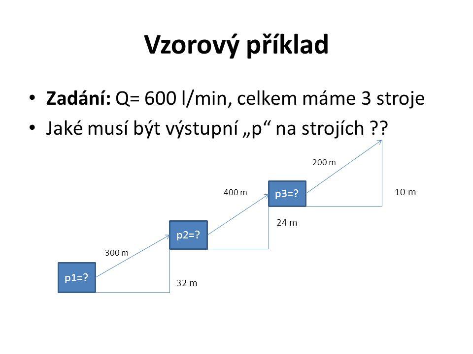 """Vzorový příklad Zadání: Q= 600 l/min, celkem máme 3 stroje Jaké musí být výstupní """"p"""" na strojích ?? 200 m 400 m 10 m 24 m 300 m 32 m p1=? p2=? p3=?"""
