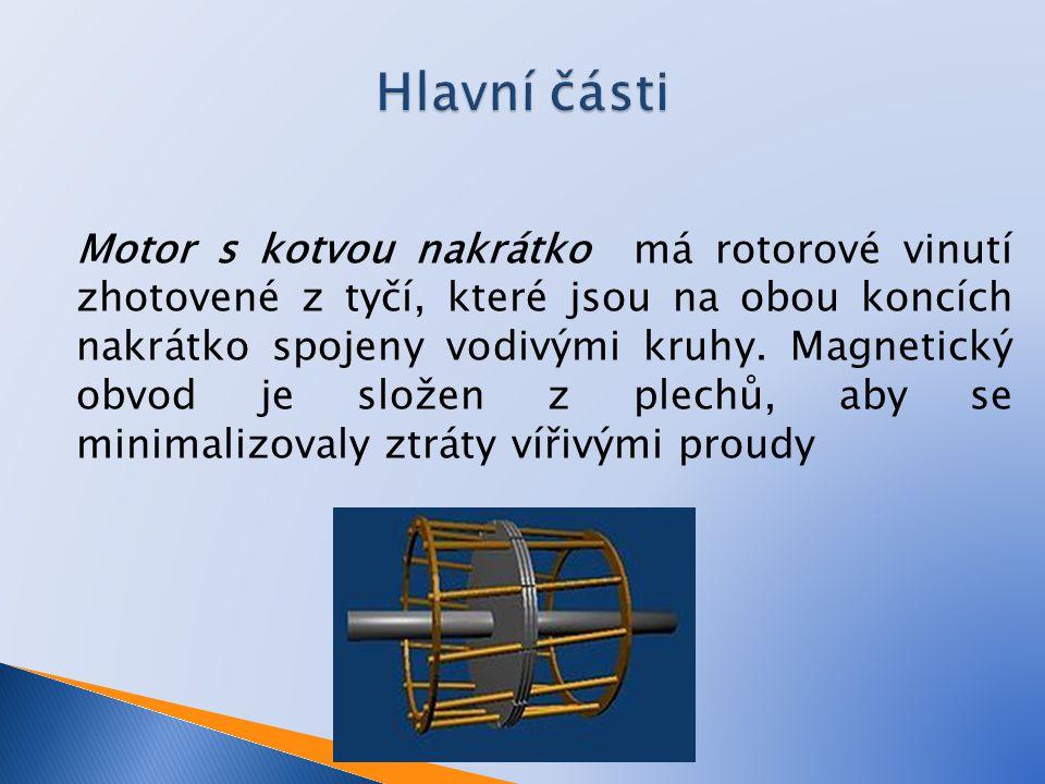 Motor s kotvou nakrátko má rotorové vinutí zhotovené z tyčí, které jsou na obou koncích nakrátko spojeny vodivými kruhy. Magnetický obvod je složen z