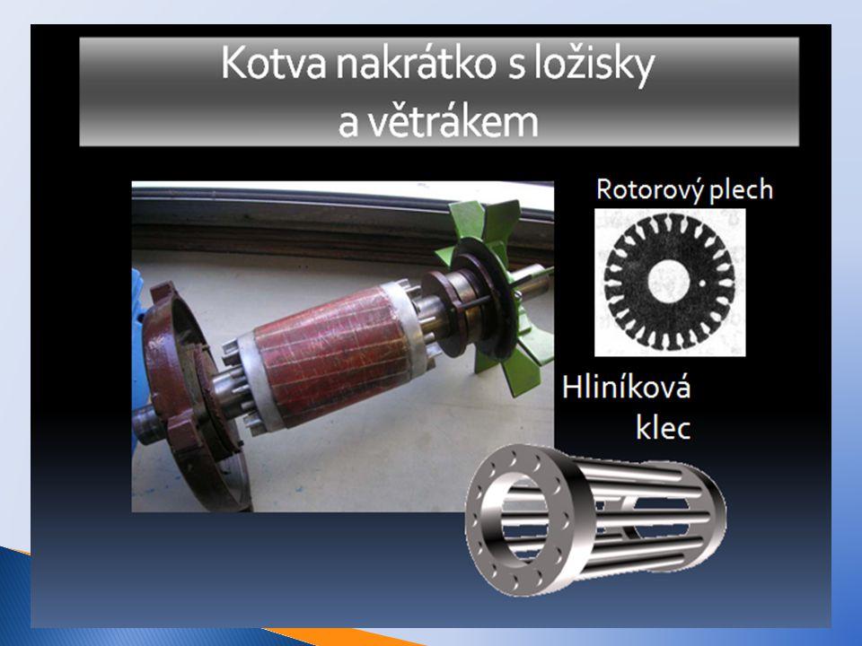 Kroužková kotva - na hřídeli jsou kromě svazku rotorových plechů i sběrné kroužky.