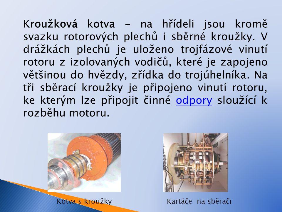 Kroužková kotva - na hřídeli jsou kromě svazku rotorových plechů i sběrné kroužky. V drážkách plechů je uloženo trojfázové vinutí rotoru z izolovaných