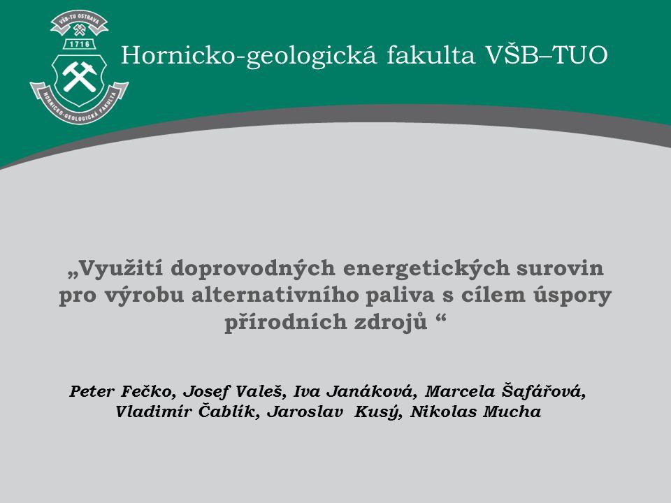 """Hornicko-geologická fakulta VŠB–TUO """"Využití doprovodných energetických surovin pro výrobu alternativního paliva s cílem úspory přírodních zdrojů """" Ho"""