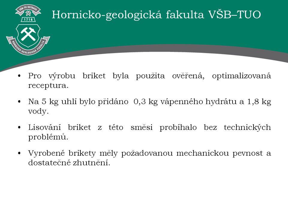 Hornicko-geologická fakulta VŠB–TUO Pro výrobu briket byla použita ověřená, optimalizovaná receptura. Na 5 kg uhlí bylo přidáno 0,3 kg vápenného hydrá