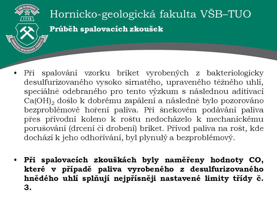 Hornicko-geologická fakulta VŠB–TUO Průběh spalovacích zkoušek Při spalování vzorku briket vyrobených z bakteriologicky desulfurizovaného vysoko sirna