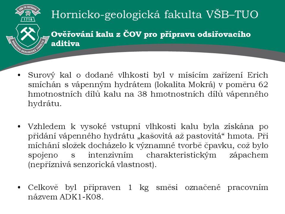 Hornicko-geologická fakulta VŠB–TUO Ověřování kalu z ČOV pro přípravu odsiřovacího aditiva Surový kal o dodané vlhkosti byl v mísícím zařízení Erich s