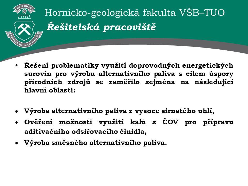 Hornicko-geologická fakulta VŠB–TUO Řešitelská pracoviště Řešení problematiky využití doprovodných energetických surovin pro výrobu alternativního pal