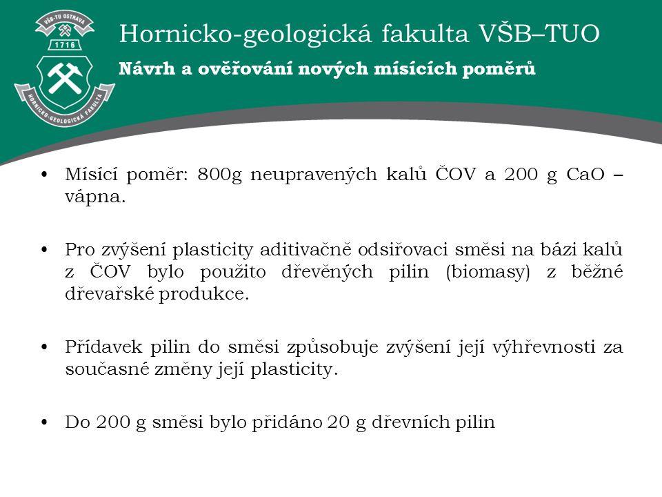 Hornicko-geologická fakulta VŠB–TUO Návrh a ověřování nových mísících poměrů Mísící poměr: 800g neupravených kalů ČOV a 200 g CaO – vápna. Pro zvýšení