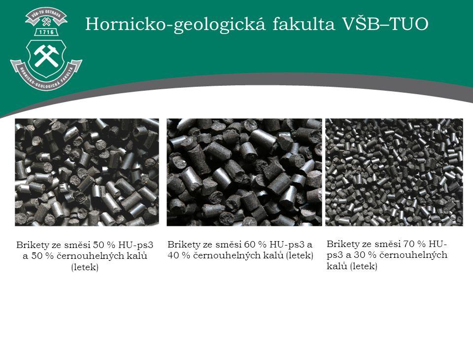 Hornicko-geologická fakulta VŠB–TUO Brikety ze směsi 50 % HU-ps3 a 50 % černouhelných kalů (letek) Brikety ze směsi 60 % HU-ps3 a 40 % černouhelných k