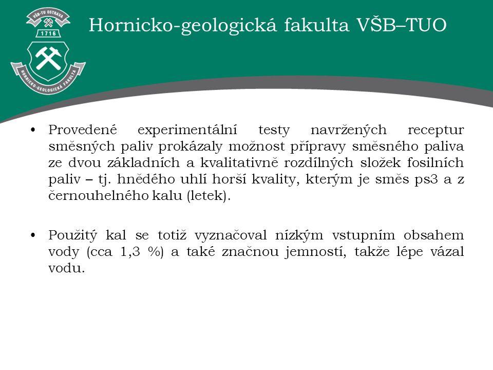 Hornicko-geologická fakulta VŠB–TUO Provedené experimentální testy navržených receptur směsných paliv prokázaly možnost přípravy směsného paliva ze dv