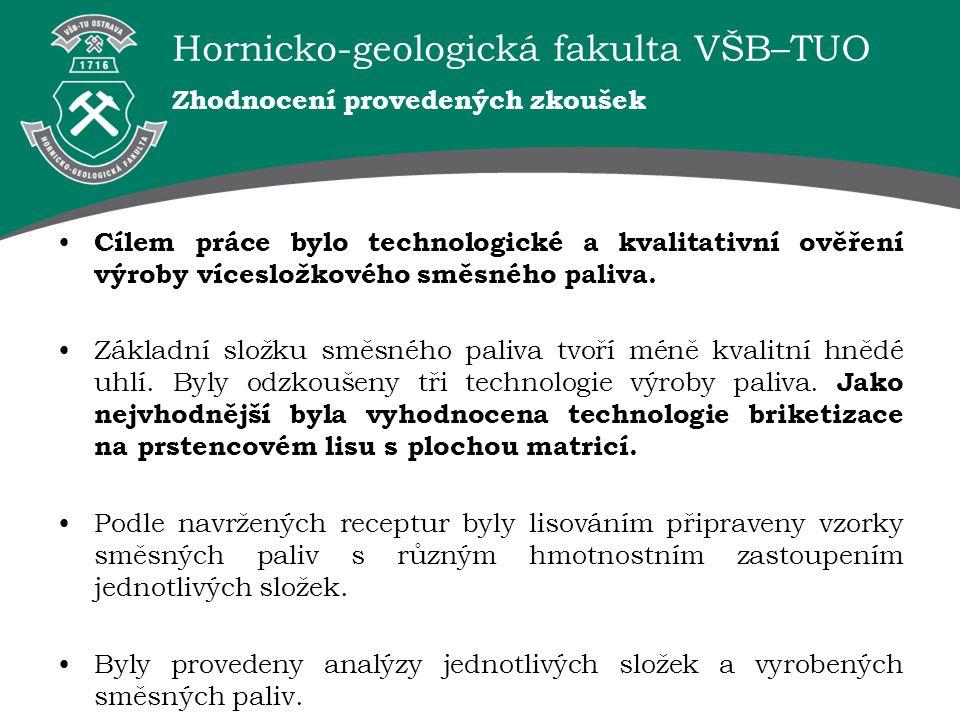 Hornicko-geologická fakulta VŠB–TUO Zhodnocení provedených zkoušek Cílem práce bylo technologické a kvalitativní ověření výroby vícesložkového směsnéh