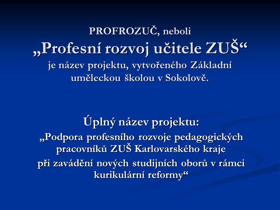 """PROFROZUČ, neboli """"Profesní rozvoj učitele ZUŠ je název projektu, vytvořeného Základní uměleckou školou v Sokolově."""