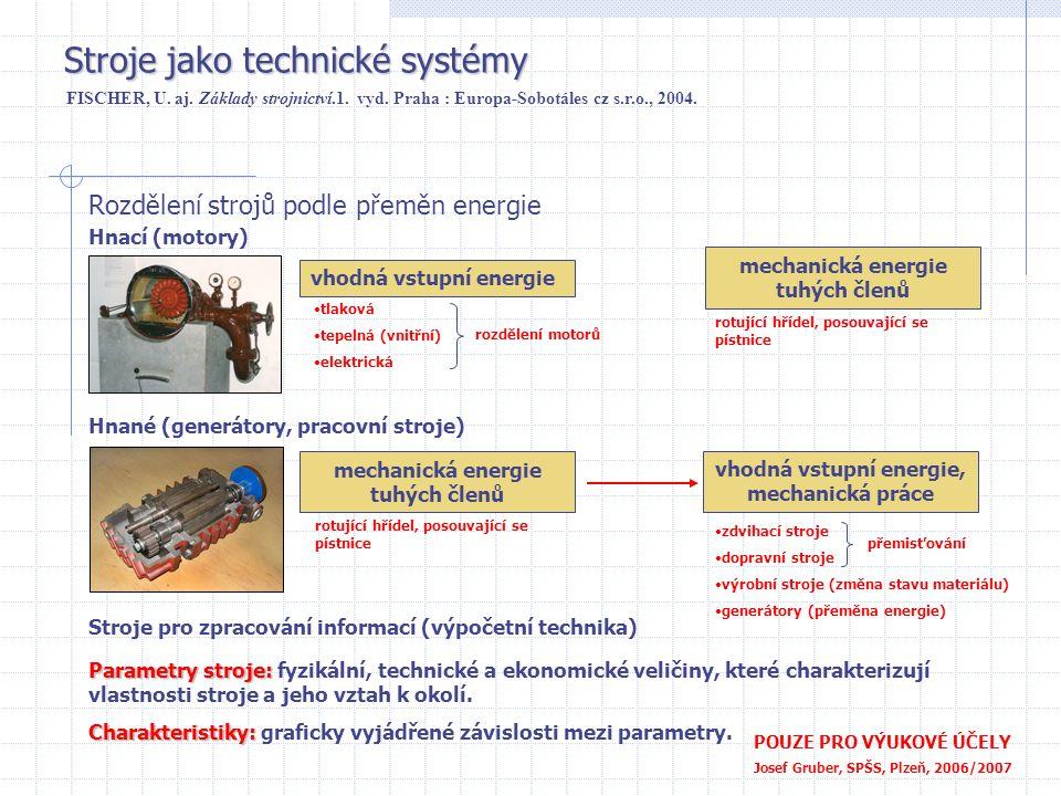 Stroje jako technické systémy POUZE PRO VÝUKOVÉ ÚČELY Josef Gruber, SPŠS, Plzeň, 2006/2007 Rozdělení strojů podle přeměn energie FISCHER, U. aj. Zákla