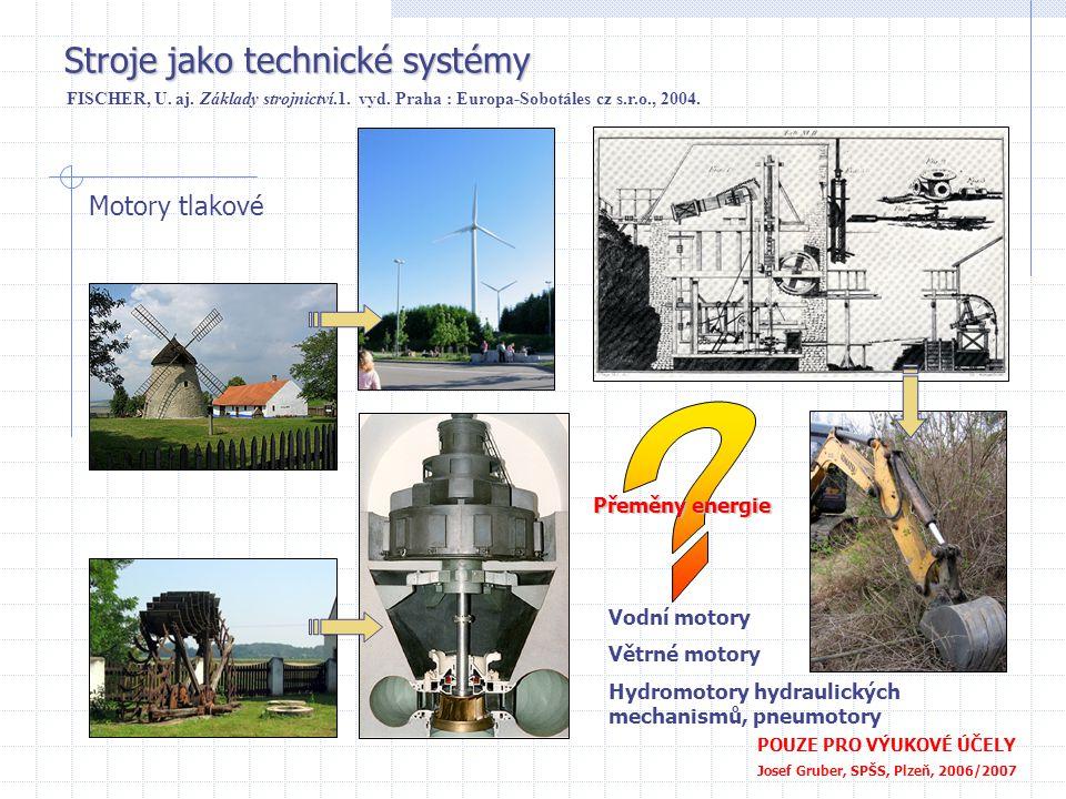 Stroje jako technické systémy POUZE PRO VÝUKOVÉ ÚČELY Josef Gruber, SPŠS, Plzeň, 2006/2007 Motory tlakové FISCHER, U. aj. Základy strojnictví.1. vyd.
