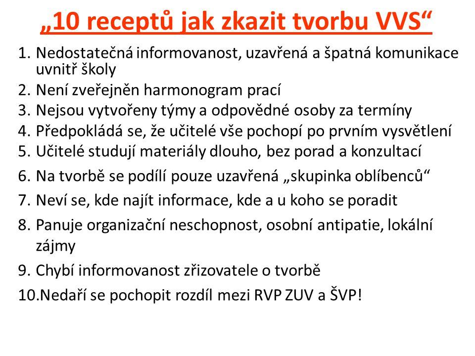 """""""10 receptů jak zkazit tvorbu VVS"""" 1.Nedostatečná informovanost, uzavřená a špatná komunikace uvnitř školy 2.Není zveřejněn harmonogram prací 3.Nejsou"""