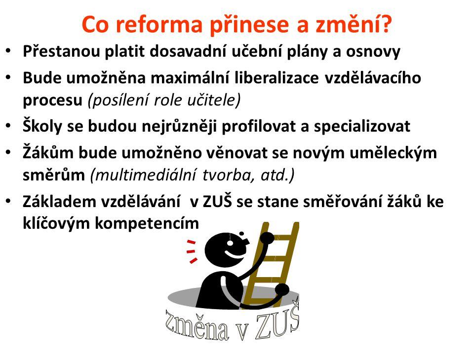 Co reforma přinese a změní? Přestanou platit dosavadní učební plány a osnovy Bude umožněna maximální liberalizace vzdělávacího procesu (posílení role