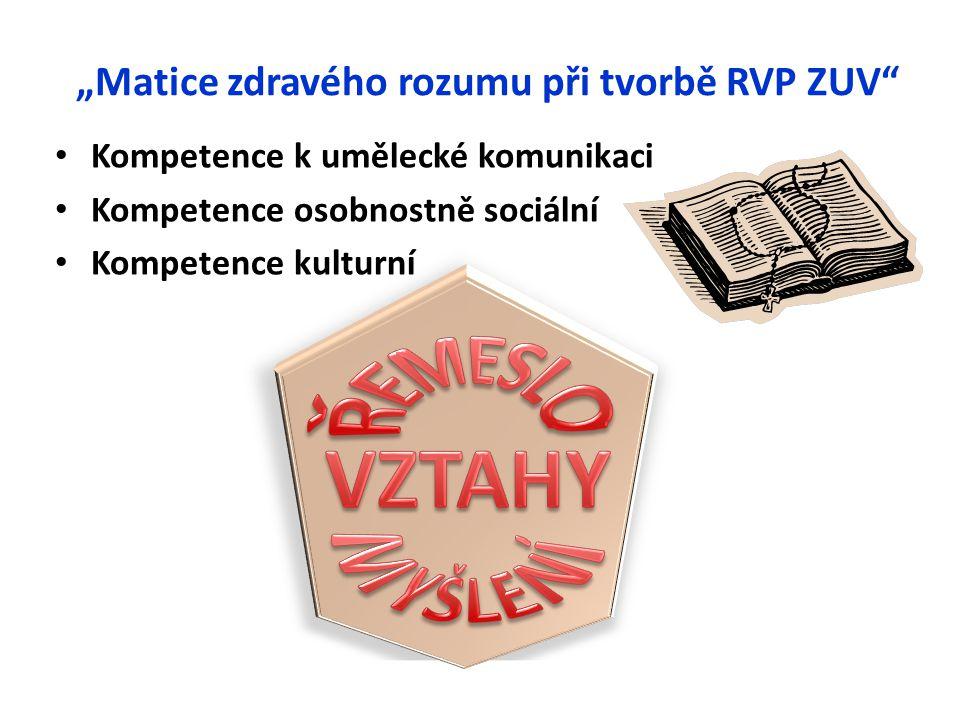 """""""Matice zdravého rozumu při tvorbě RVP ZUV"""" Kompetence k umělecké komunikaci Kompetence osobnostně sociální Kompetence kulturní"""