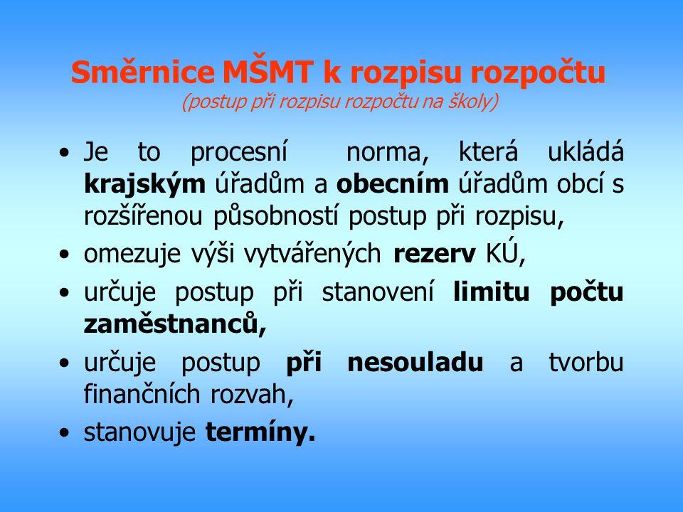 Směrnice MŠMT k rozpisu rozpočtu (postup při rozpisu rozpočtu na školy) Je to procesní norma, která ukládá krajským úřadům a obecním úřadům obcí s roz