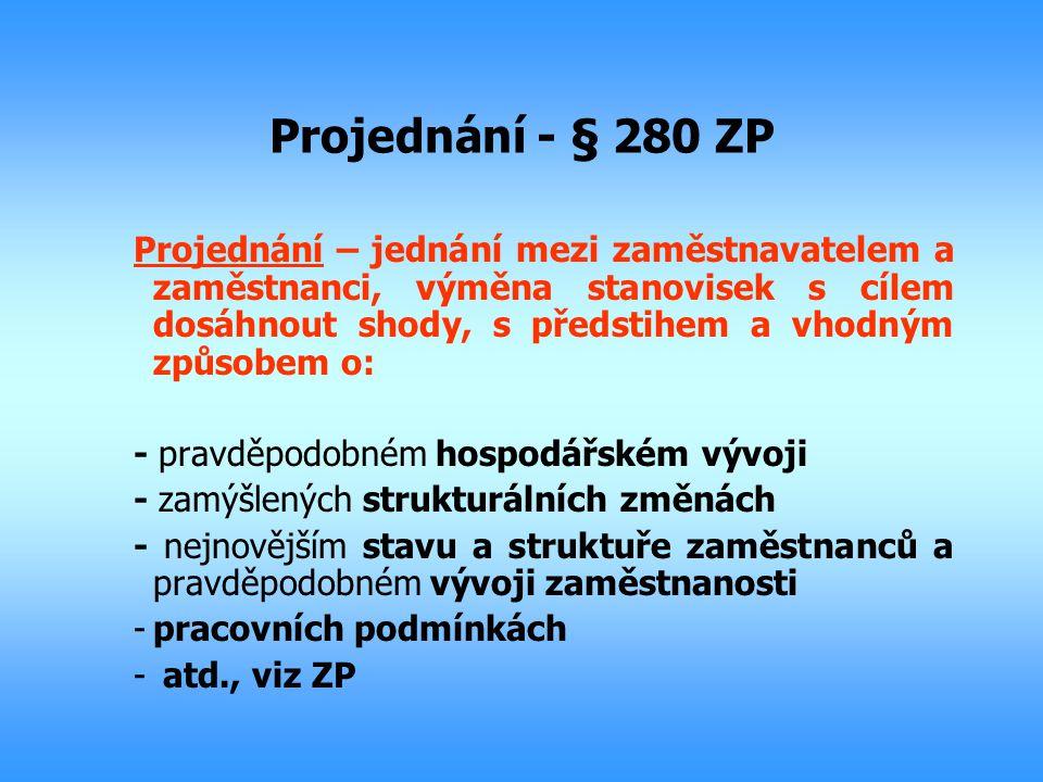 Projednání - § 280 ZP Projednání – jednání mezi zaměstnavatelem a zaměstnanci, výměna stanovisek s cílem dosáhnout shody, s předstihem a vhodným způso