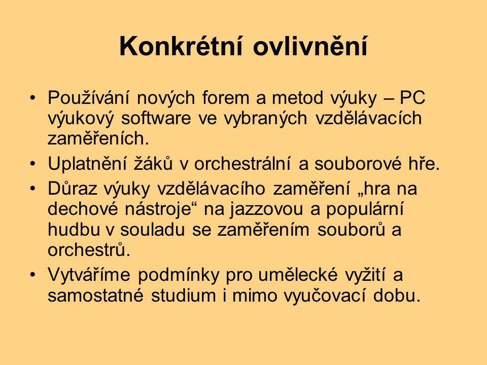 Konkrétní ovlivnění Používání nových forem a metod výuky – PC výukový software ve vybraných vzdělávacích zaměřeních.