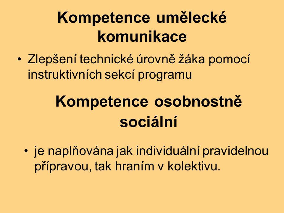 Kompetence umělecké komunikace Zlepšení technické úrovně žáka pomocí instruktivních sekcí programu Kompetence osobnostně sociální je naplňována jak individuální pravidelnou přípravou, tak hraním v kolektivu.
