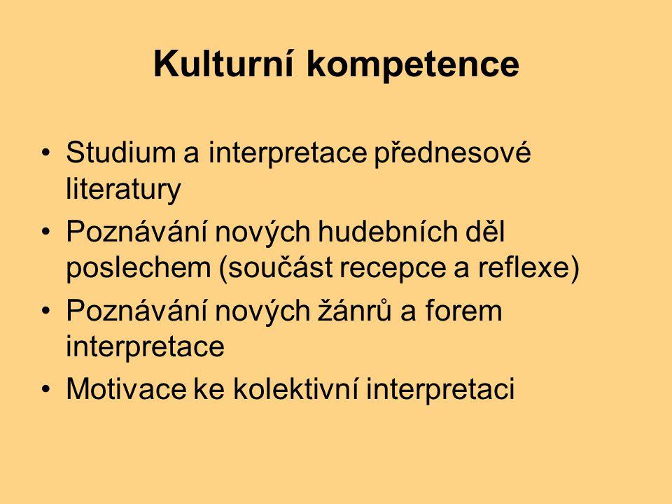 Kulturní kompetence Studium a interpretace přednesové literatury Poznávání nových hudebních děl poslechem (součást recepce a reflexe) Poznávání nových žánrů a forem interpretace Motivace ke kolektivní interpretaci