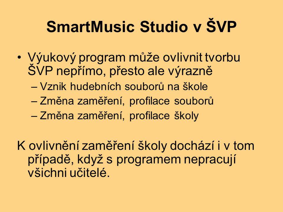 SmartMusic Studio v ŠVP Výukový program může ovlivnit tvorbu ŠVP nepřímo, přesto ale výrazně –Vznik hudebních souborů na škole –Změna zaměření, profilace souborů –Změna zaměření, profilace školy K ovlivnění zaměření školy dochází i v tom případě, když s programem nepracují všichni učitelé.
