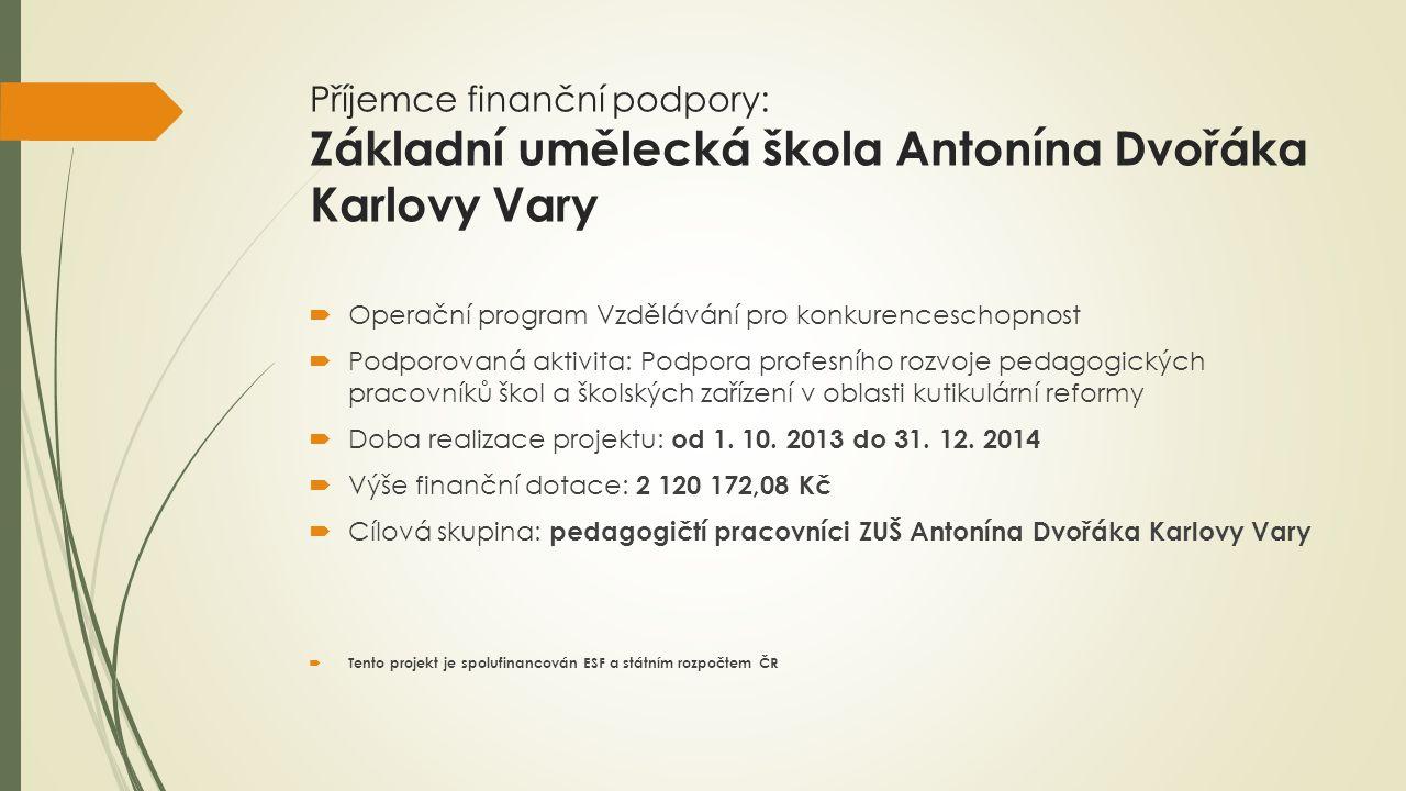 Příjemce finanční podpory: Základní umělecká škola Antonína Dvořáka Karlovy Vary  Operační program Vzdělávání pro konkurenceschopnost  Podporovaná a