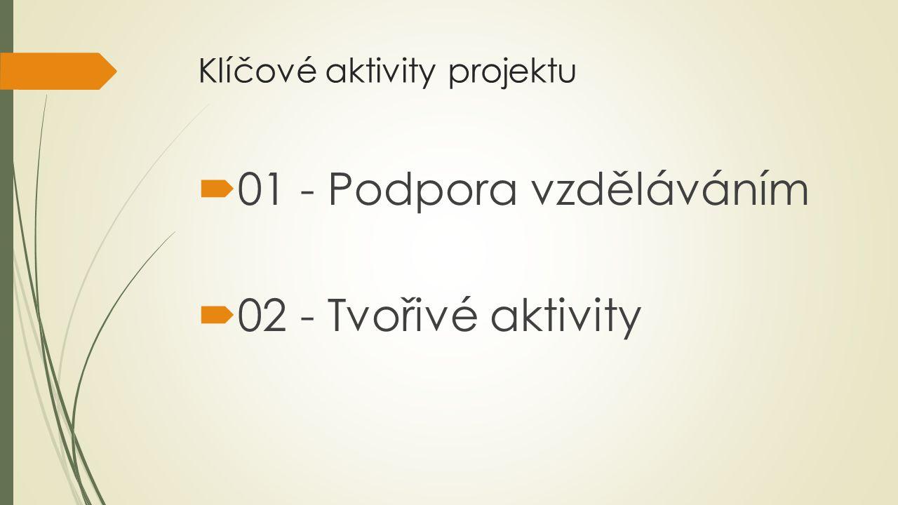 Klíčové aktivity projektu  01 - Podpora vzděláváním  02 - Tvořivé aktivity