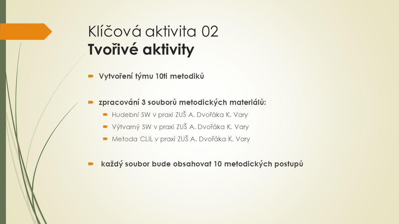 Klíčová aktivita 02 Tvořivé aktivity  Vytvoření týmu 10ti metodiků  zpracování 3 souborů metodických materiálů:  Hudební SW v praxi ZUŠ A.