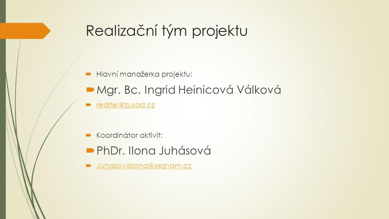 Realizační tým projektu  Hlavní manažerka projektu:  Mgr. Bc. Ingrid Heinicová Válková  reditel@zusad.cz reditel@zusad.cz  Koordinátor aktivit: 