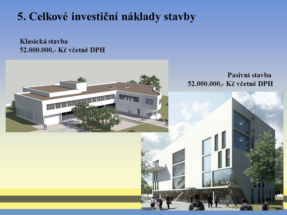 5. Celkové investiční náklady stavby Klasická stavba 52.000.000,- Kč včetně DPH Pasivní stavba 52.000.000,- Kč včetně DPH