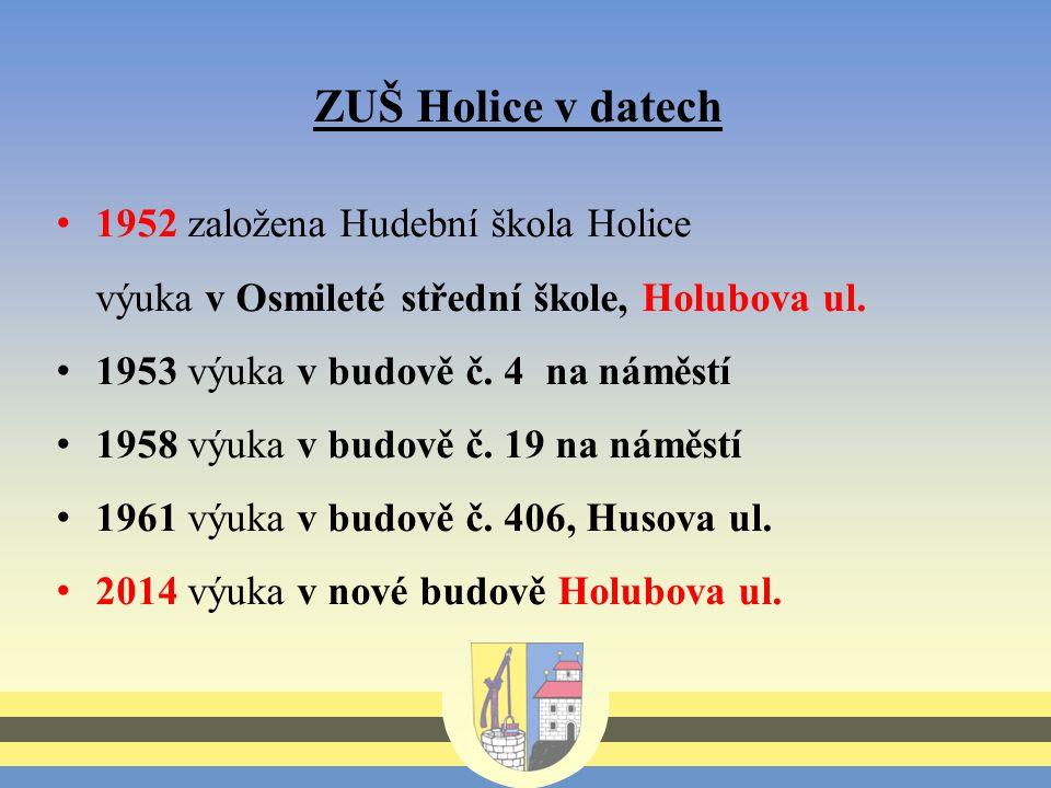 ZUŠ Holice v datech 1952 založena Hudební škola Holice výuka v Osmileté střední škole, Holubova ul.
