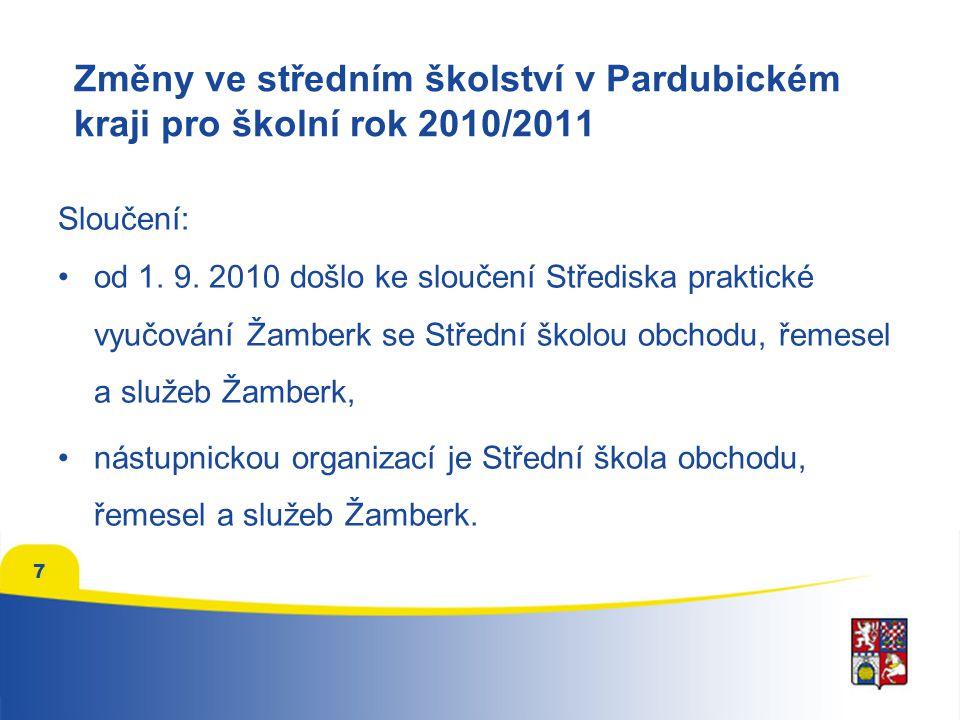 Změny ve středním školství v Pardubickém kraji pro školní rok 2011/2012 Převody ZUŠ a DDM: k 1.