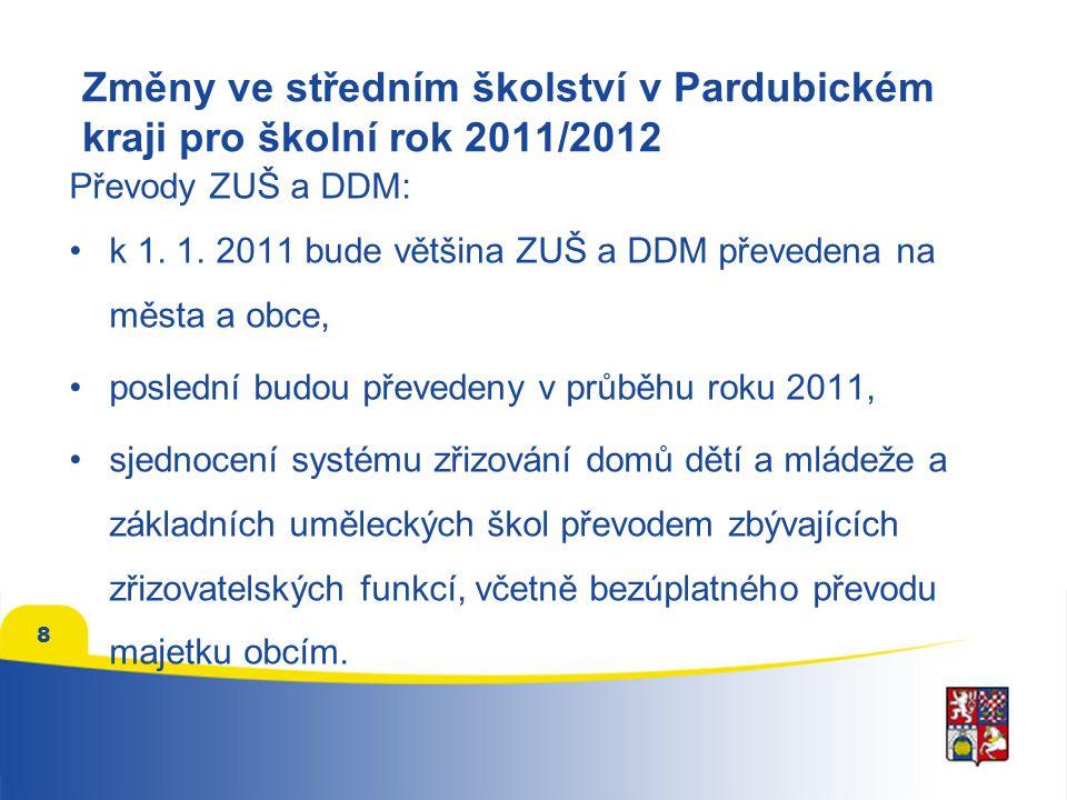 9 Další změny v oblasti školství v Pk Sjednocení systému zřizování speciálních základních škol, speciální základní školy budou převedeny ze zřizovatelské funkce z obcí na Pk, většina převedena k 1.1.2011.