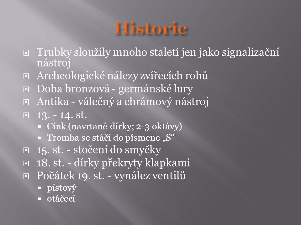  Trubky sloužily mnoho staletí jen jako signalizační nástroj  Archeologické nálezy zvířecích rohů  Doba bronzová - germánské lury  Antika - válečn