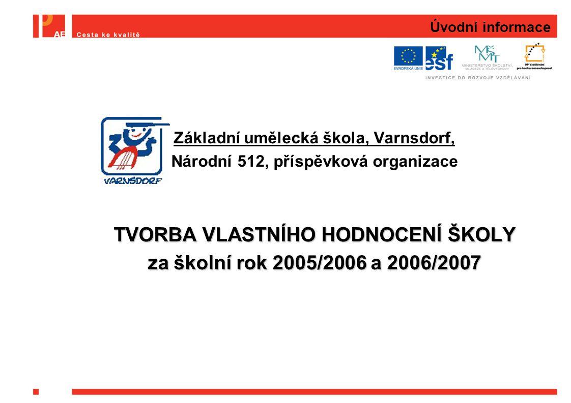 Úvodní informace Základní umělecká škola, Varnsdorf, Národní 512, příspěvková organizace TVORBA VLASTNÍHO HODNOCENÍ ŠKOLY za školní rok 2005/2006 a 20