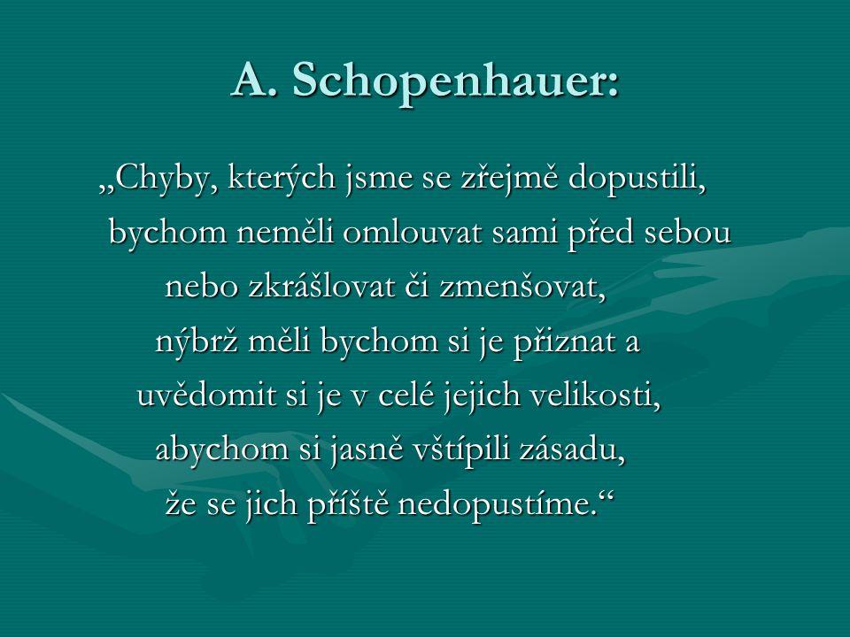 """A. Schopenhauer: """"Chyby, kterých jsme se zřejmě dopustili, """"Chyby, kterých jsme se zřejmě dopustili, bychom neměli omlouvat sami před sebou bychom nem"""