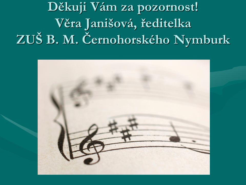Děkuji Vám za pozornost! Věra Janišová, ředitelka ZUŠ B. M. Černohorského Nymburk