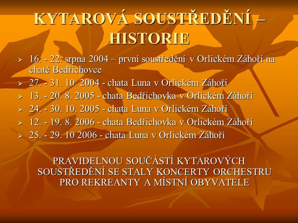 KYTAROVÁ SOUSTŘEDĚNÍ – HISTORIE  16. - 22. srpna 2004 – první soustředění v Orlickém Záhoří na chatě Bedřichovce  27. - 31. 10. 2004 - chata Luna v