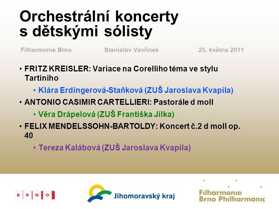 FILHARMONIE File Number Orchestrální koncerty s dětskými sólisty FRITZ KREISLER: Variace na Corelliho téma ve stylu Tartiniho Klára Erdingerová-Staňko