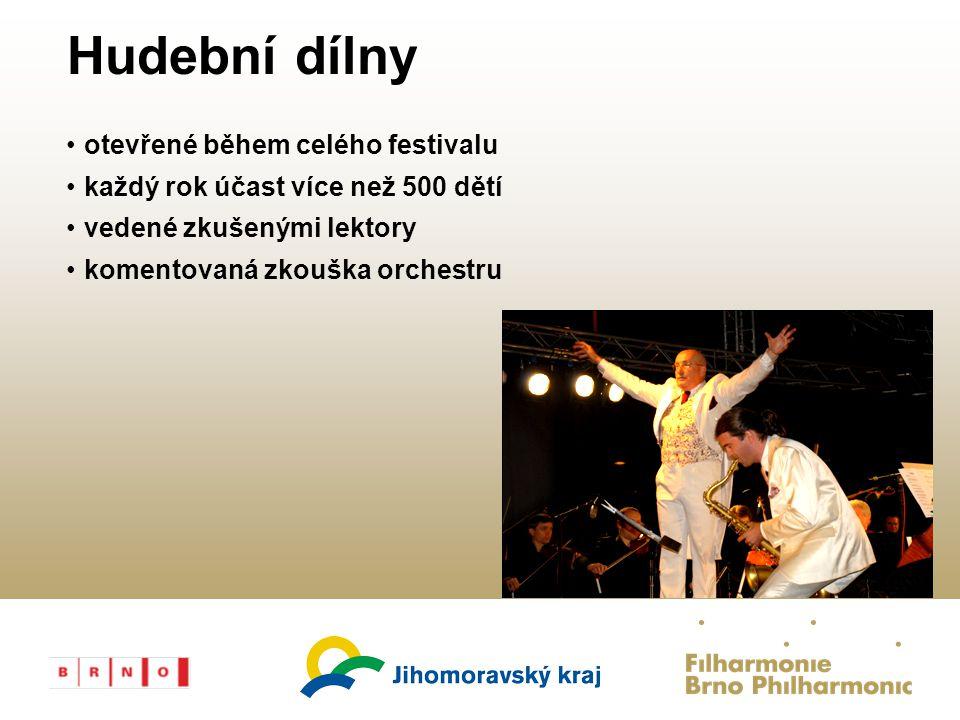 FILHARMONIE File Number Hudební dílny otevřené během celého festivalu každý rok účast více než 500 dětí vedené zkušenými lektory komentovaná zkouška orchestru