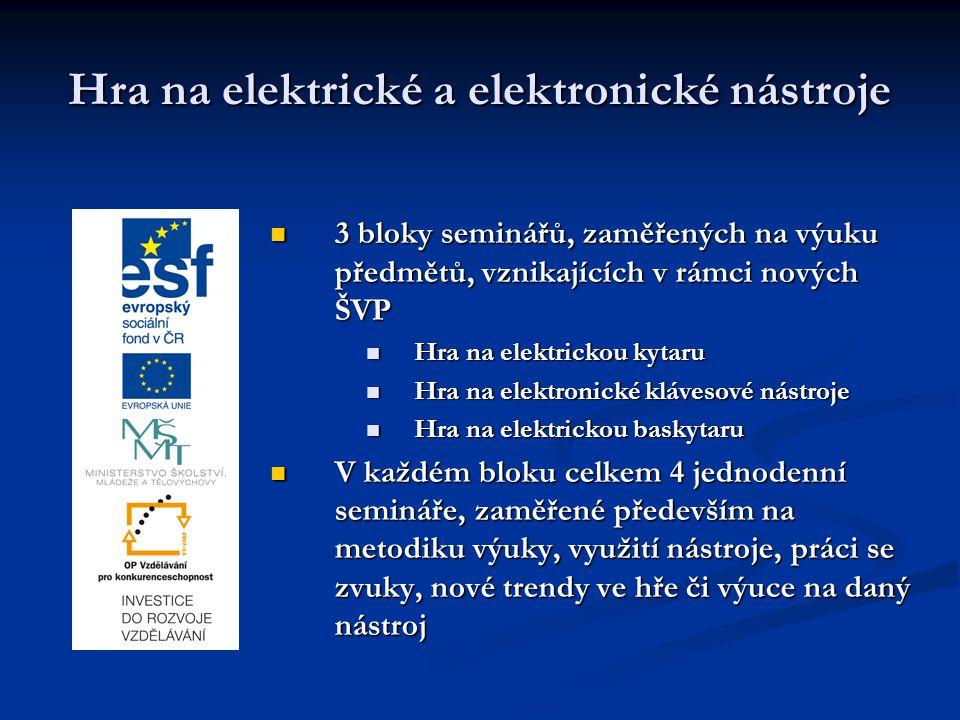 Hra na elektrické a elektronické nástroje 3 bloky seminářů, zaměřených na výuku předmětů, vznikajících v rámci nových ŠVP Hra na elektrickou kytaru Hr