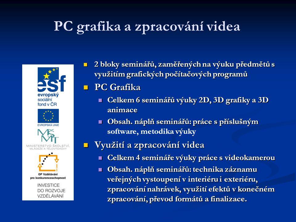 PC grafika a zpracování videa 2 bloky seminářů, zaměřených na výuku předmětů s využitím grafických počítačových programů PC Grafika Celkem 6 seminářů